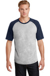 Sport-Tek T201 Mens Short Sleeve Crewneck T-Shirt Heather Grey/Navy Blue Front