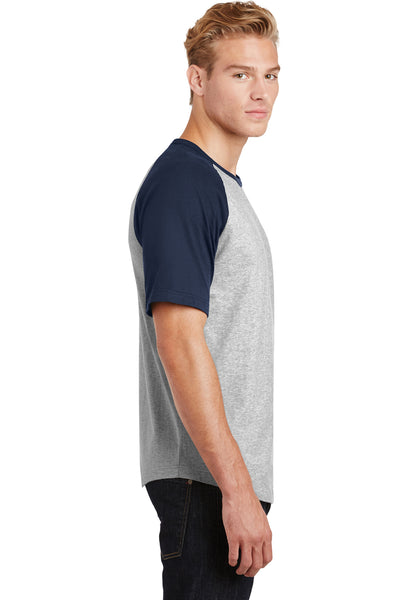Sport-Tek T201 Mens Short Sleeve Crewneck T-Shirt Heather Grey/Navy Blue Side