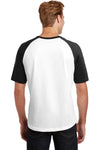 Sport-Tek T201 Mens Short Sleeve Crewneck T-Shirt White/Black Back