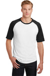 Sport-Tek T201 Mens Short Sleeve Crewneck T-Shirt White/Black Front