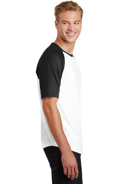 Sport-Tek T201 Mens Short Sleeve Crewneck T-Shirt White/Black Side