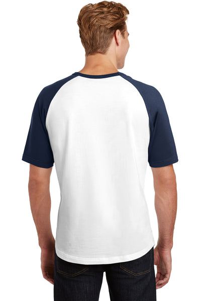 Sport-Tek T201 Mens Short Sleeve Crewneck T-Shirt White/Navy Blue Back