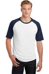 Sport-Tek T201 Mens Short Sleeve Crewneck T-Shirt White/Navy Blue Front