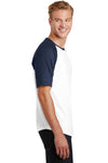 Sport-Tek T201 Mens Short Sleeve Crewneck T-Shirt White/Navy Blue Side