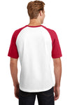 Sport-Tek T201 Mens Short Sleeve Crewneck T-Shirt White/Red Back