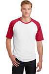 Sport-Tek T201 Mens Short Sleeve Crewneck T-Shirt White/Red Front