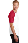 Sport-Tek T201 Mens Short Sleeve Crewneck T-Shirt White/Red Side