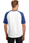 Sport-Tek T201 Mens Short Sleeve Crewneck T-Shirt White/Royal Blue Back
