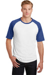 Sport-Tek T201 Mens Short Sleeve Crewneck T-Shirt White/Royal Blue Front