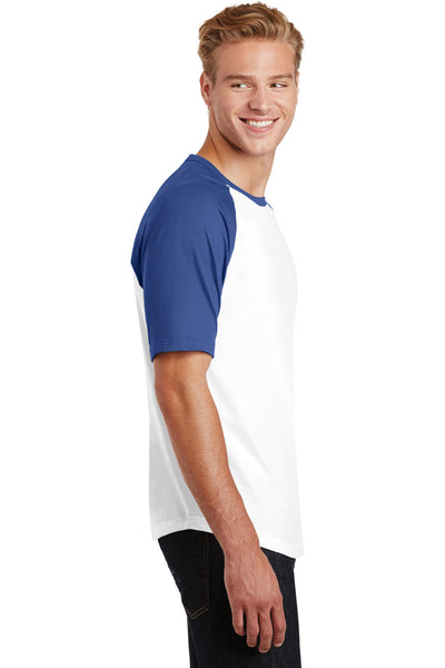 Sport-Tek T201 Mens Short Sleeve Crewneck T-Shirt White/Royal Blue Side