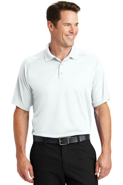 Sport-Tek T475 Mens Dry Zone Moisture Wicking Short Sleeve Polo Shirt White Front