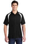 Sport-Tek T476 Mens Dry Zone Moisture Wicking Short Sleeve Polo Shirt Black Front