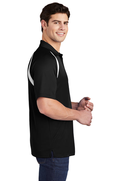 Sport-Tek T476 Mens Dry Zone Moisture Wicking Short Sleeve Polo Shirt Black Side