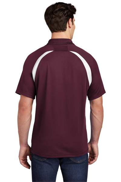 Sport-Tek T476 Mens Dry Zone Moisture Wicking Short Sleeve Polo Shirt Maroon Back