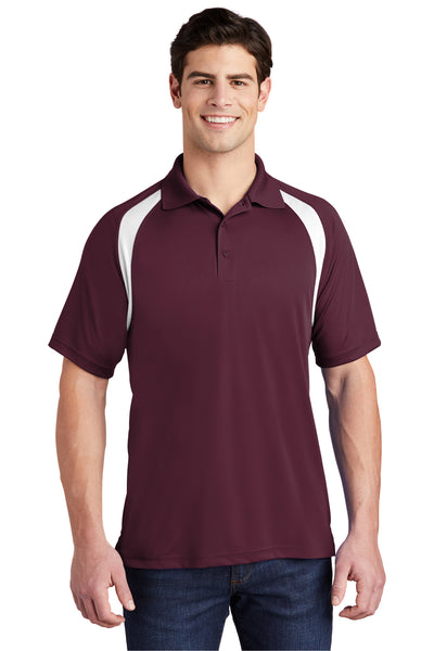 Sport-Tek T476 Mens Dry Zone Moisture Wicking Short Sleeve Polo Shirt Maroon Front
