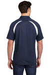 Sport-Tek T476 Mens Dry Zone Moisture Wicking Short Sleeve Polo Shirt Navy Blue Back