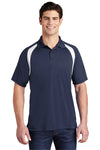 Sport-Tek T476 Mens Dry Zone Moisture Wicking Short Sleeve Polo Shirt Navy Blue Front