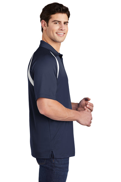 Sport-Tek T476 Mens Dry Zone Moisture Wicking Short Sleeve Polo Shirt Navy Blue Side