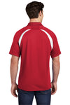 Sport-Tek T476 Mens Dry Zone Moisture Wicking Short Sleeve Polo Shirt Red Back