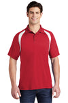 Sport-Tek T476 Mens Dry Zone Moisture Wicking Short Sleeve Polo Shirt Red Front