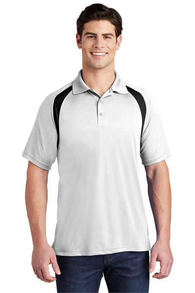 Sport-Tek T476 Mens Dry Zone Moisture Wicking Short Sleeve Polo Shirt White Front