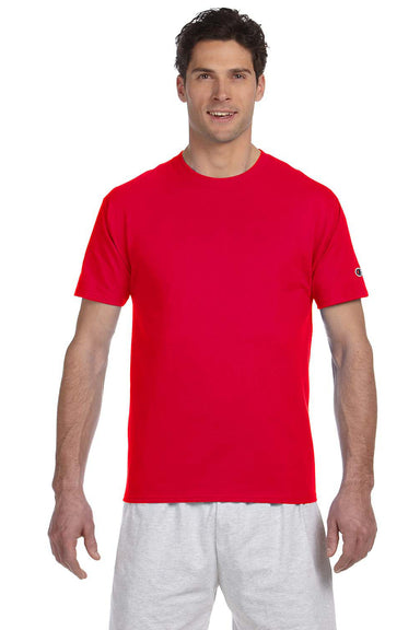 Champion T525C Mens Short Sleeve Crewneck T-Shirt Red Front
