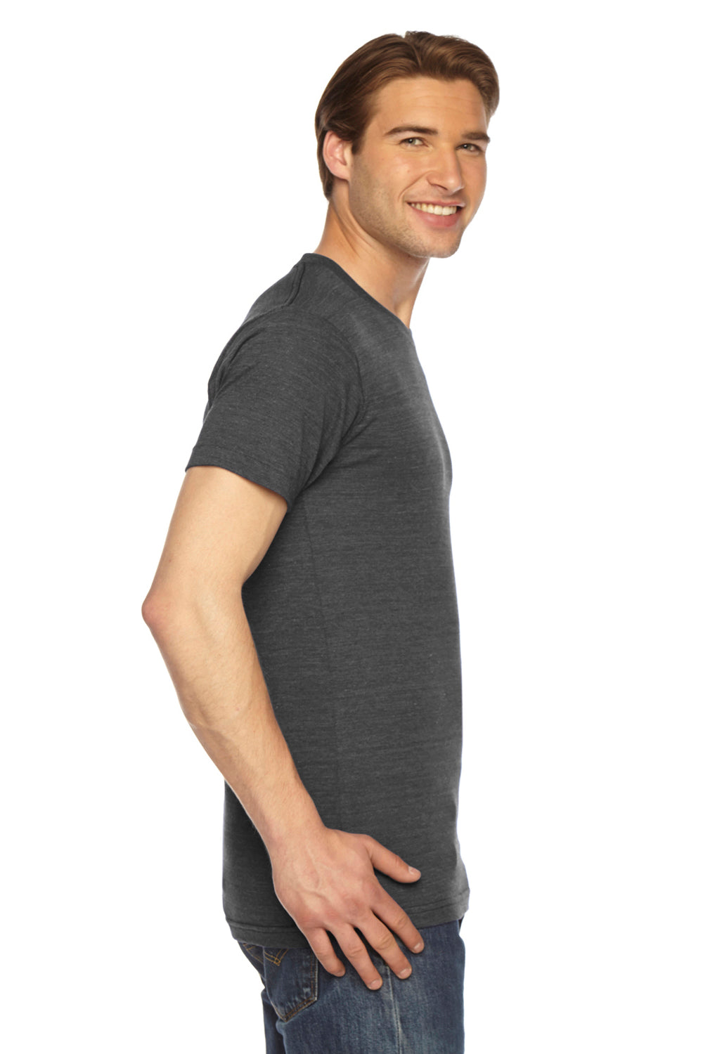 American Apparel TR401W Mens Track Short Sleeve Crewneck T-Shirt Black Side
