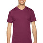American Apparel Mens Cranberry Red Track Short Sleeve Crewneck T-Shirt