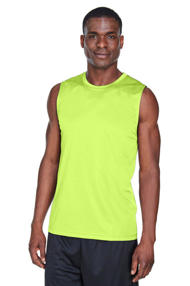 Team 365 TT11M Mens Zone Performance Muscle Moisture Wicking Tank Top Safety Yellow Front