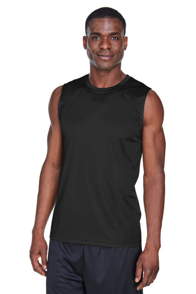 Team 365 TT11M Mens Zone Performance Muscle Moisture Wicking Tank Top Black Front