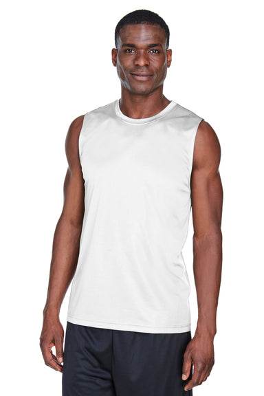 Team 365 TT11M Mens Zone Performance Muscle Moisture Wicking Tank Top White Front