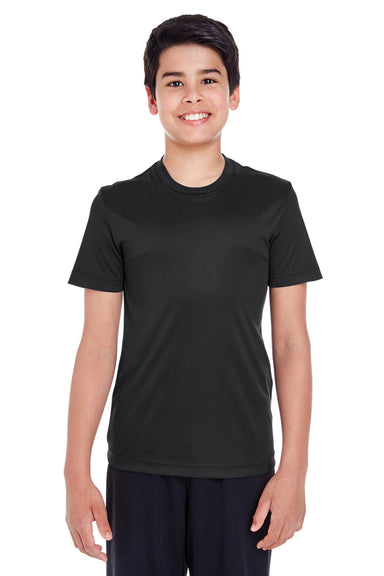Team 365 TT11Y Youth Zone Performance Moisture Wicking Short Sleeve Crewneck T-Shirt Black Front
