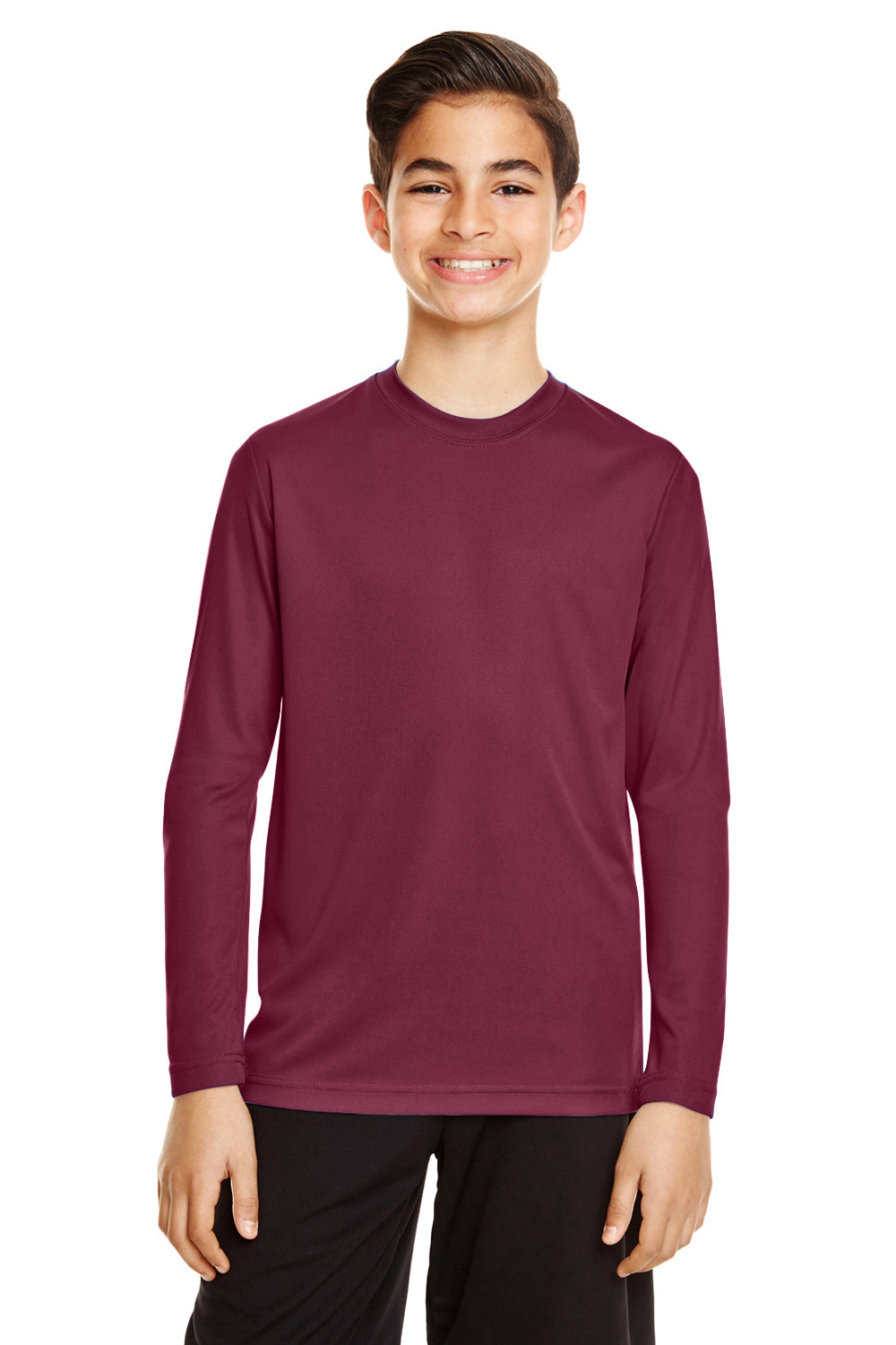 Team 365 TT11YL Zone Performance Moisture Wicking Long Sleeve Crewneck T-Shirt Maroon Front