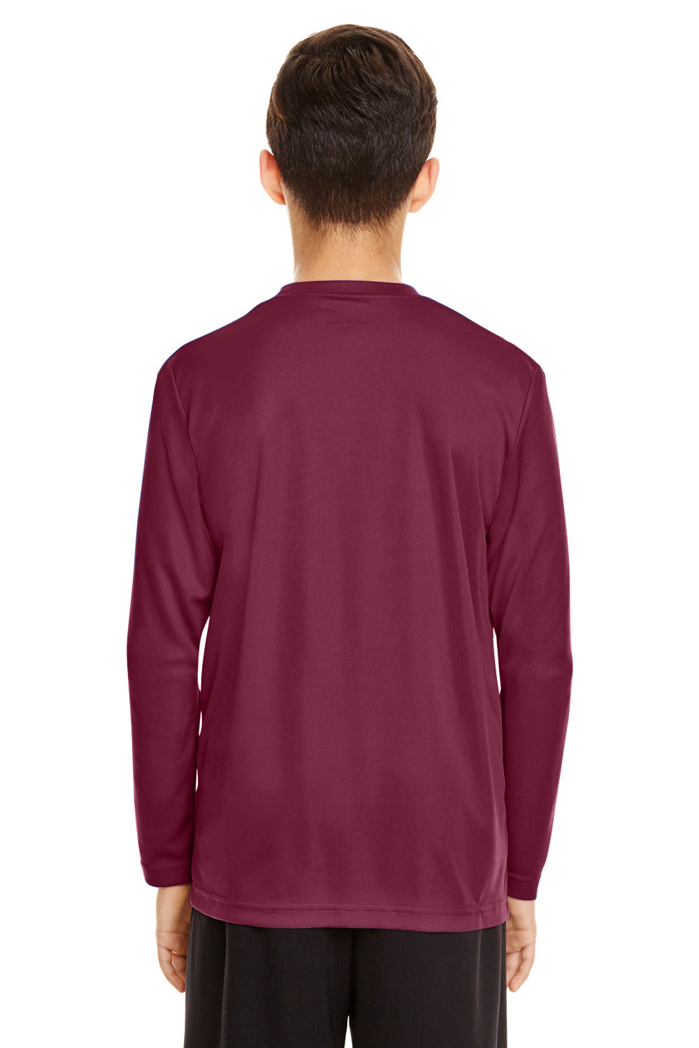 Team 365 TT11YL Zone Performance Moisture Wicking Long Sleeve Crewneck T-Shirt Maroon Back