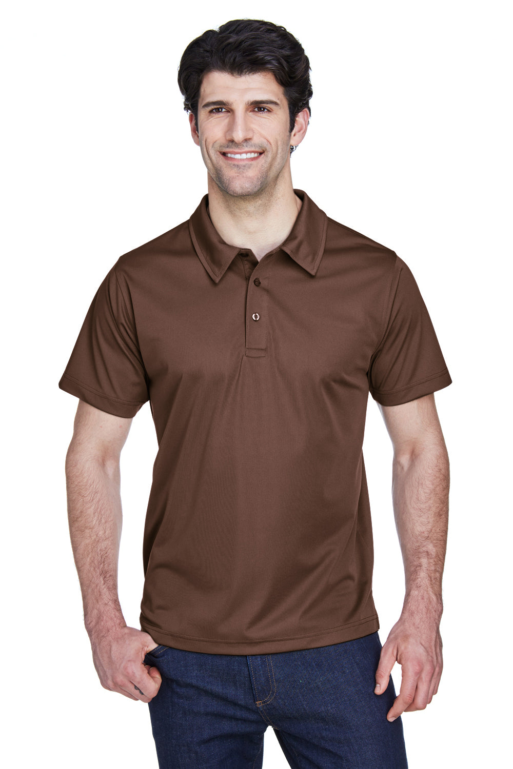 Team 365 TT21 Mens Command Performance Moisture Wicking Short Sleeve Polo Shirt Brown Front