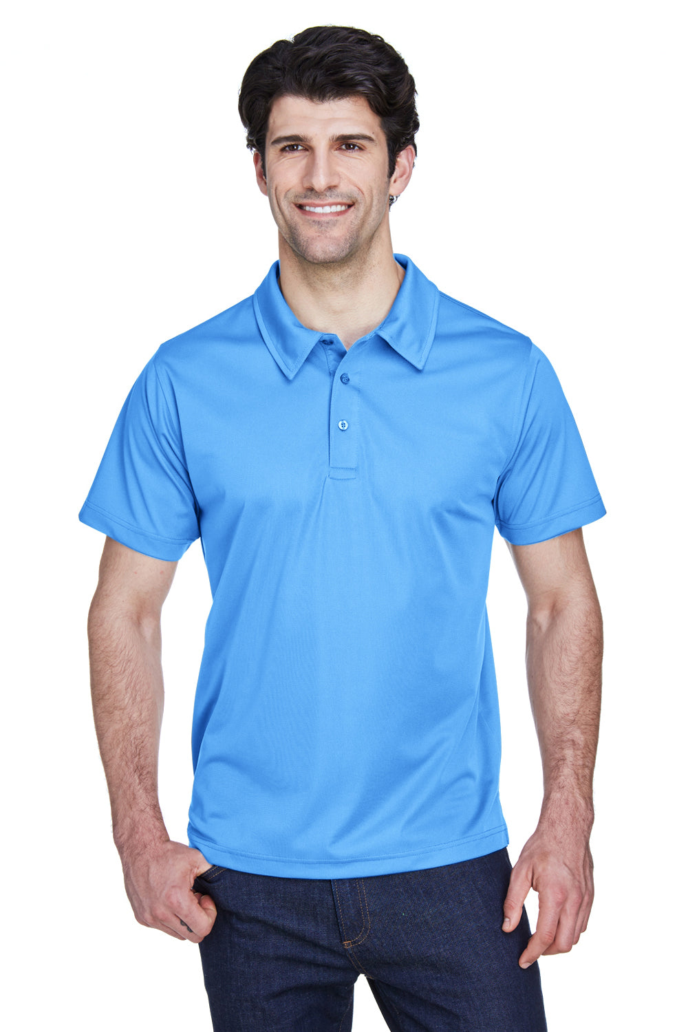 Team 365 TT21 Mens Command Performance Moisture Wicking Short Sleeve Polo Shirt Light Blue Front