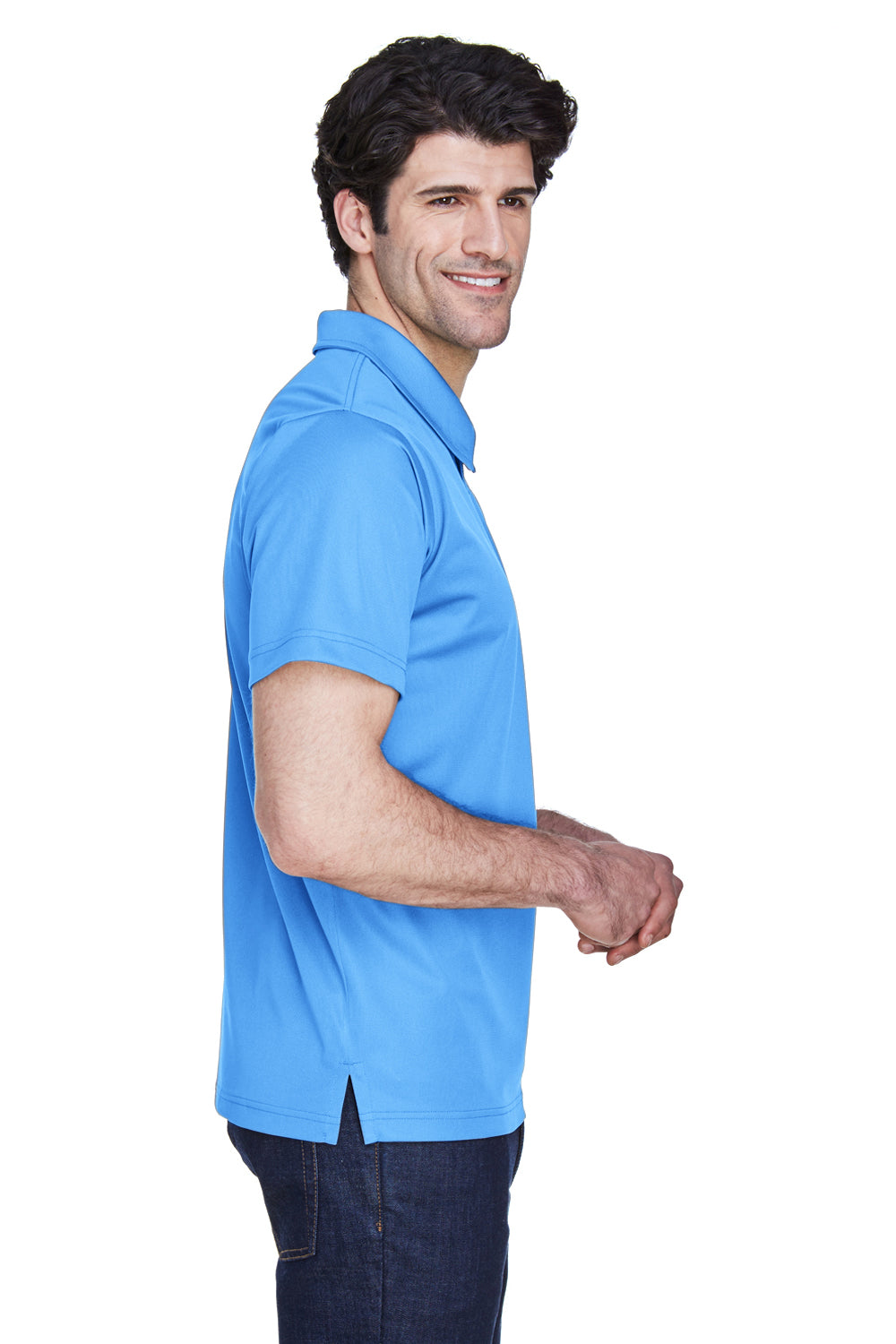 Team 365 TT21 Mens Command Performance Moisture Wicking Short Sleeve Polo Shirt Light Blue Side