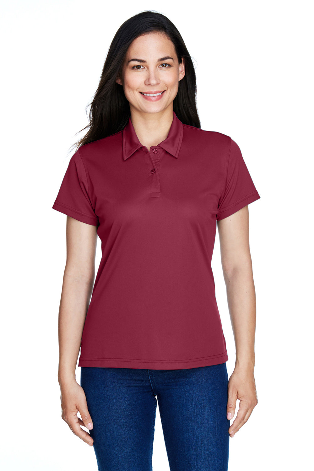 Team 365 TT21W Womens Command Performance Moisture Wicking Short Sleeve Polo Shirt Maroon Front