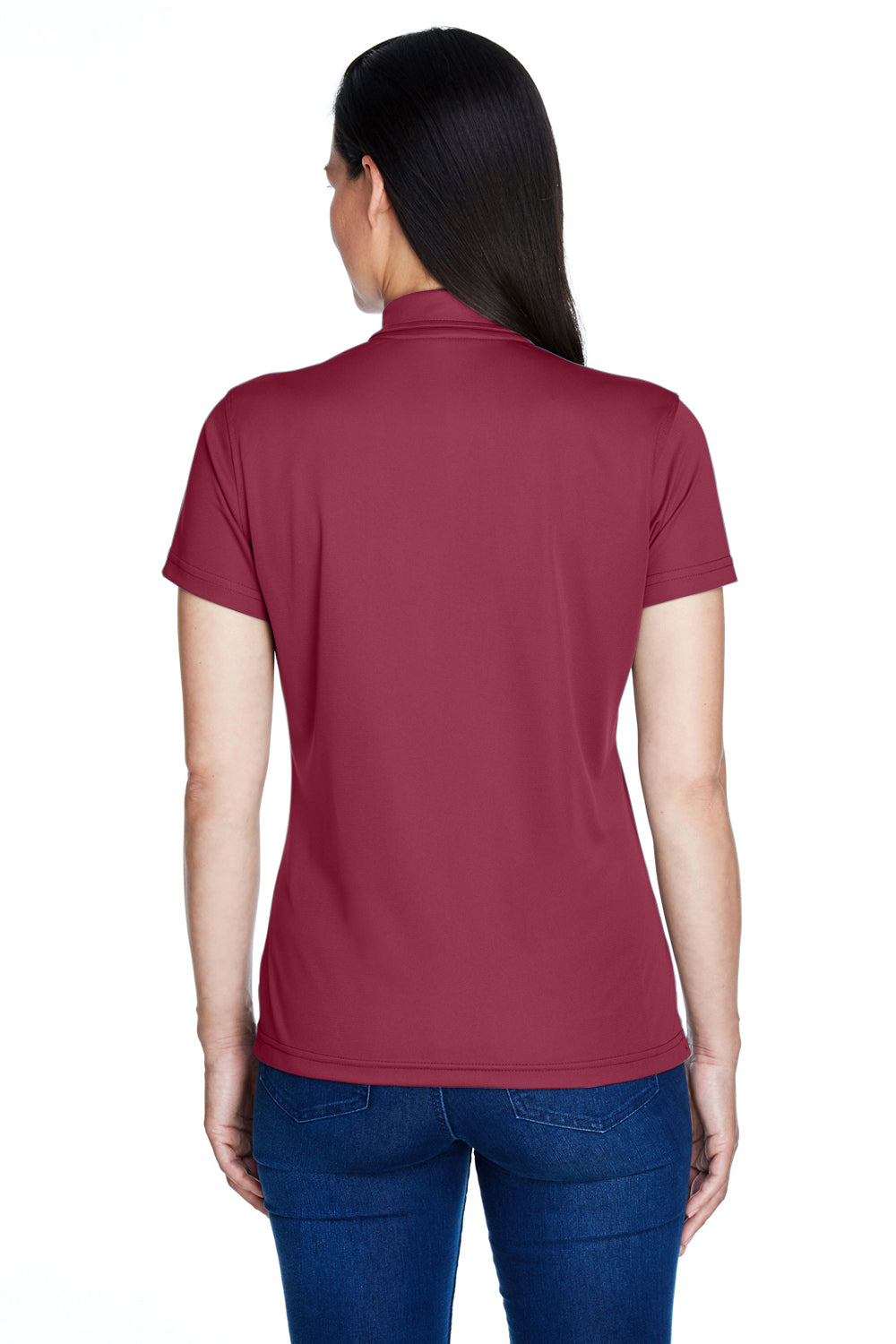 Team 365 TT21W Womens Command Performance Moisture Wicking Short Sleeve Polo Shirt Maroon Back