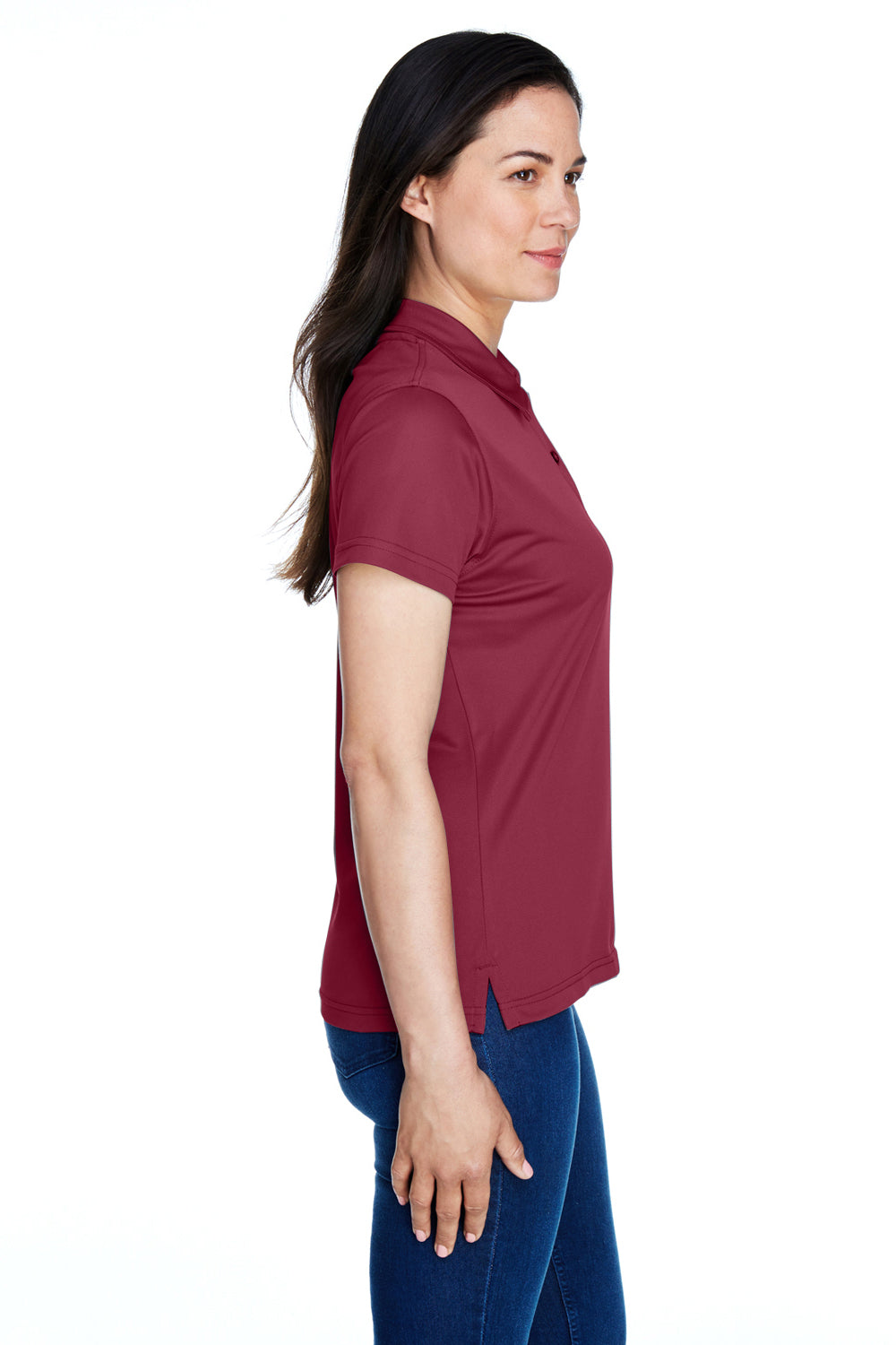 Team 365 TT21W Womens Command Performance Moisture Wicking Short Sleeve Polo Shirt Maroon Side