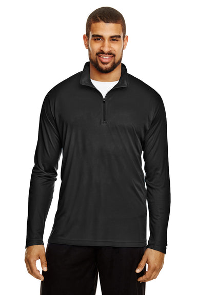 Team 365 TT31 Mens Zone Performance Moisture Wicking 1/4 Zip Sweatshirt Black Front