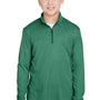 Team 365 Youth Zone Sonic Performance Moisture Wicking 1/4 Zip Sweatshirt - Heather Forest Green