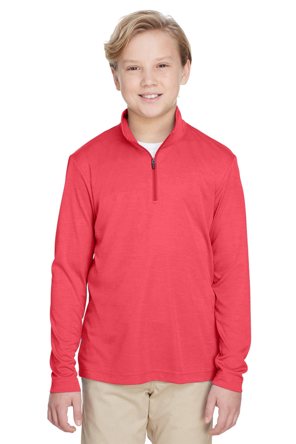 Team 365 TT31HY Youth Zone Sonic Performance Moisture Wicking 1/4 Zip Sweatshirt Red Front