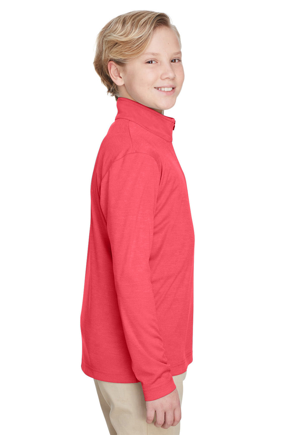 Team 365 TT31HY Youth Zone Sonic Performance Moisture Wicking 1/4 Zip Sweatshirt Red Side
