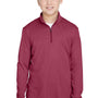 Team 365 Youth Zone Sonic Performance Moisture Wicking 1/4 Zip Sweatshirt - Heather Maroon