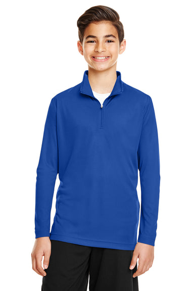 Team 365 TT31Y Youth Zone Performance Moisture Wicking 1/4 Zip Sweatshirt Royal Blue Front