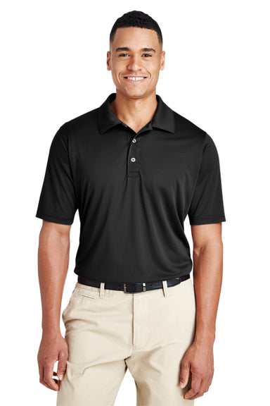Team 365 TT51 Mens Zone Performance Moisture Wicking Short Sleeve Polo Shirt Black Front