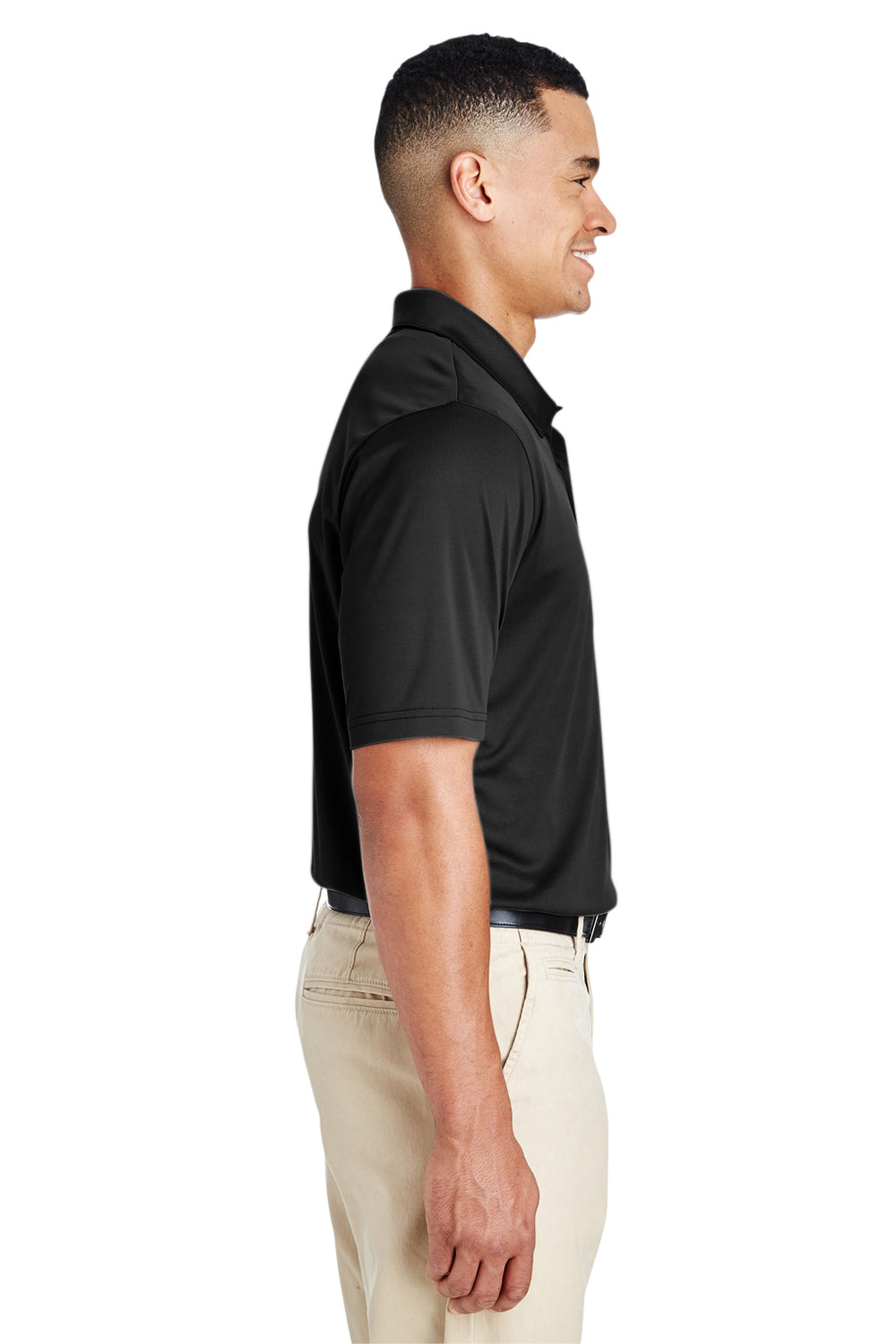Team 365 TT51 Mens Zone Performance Moisture Wicking Short Sleeve Polo Shirt Black Side