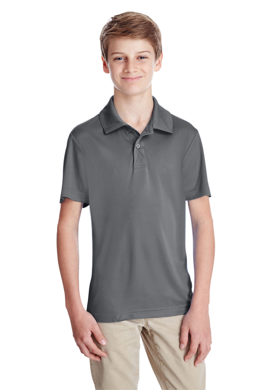 Team 365 TT51Y Youth Zone Performance Moisture Wicking Short Sleeve Polo Shirt Graphite Grey Front