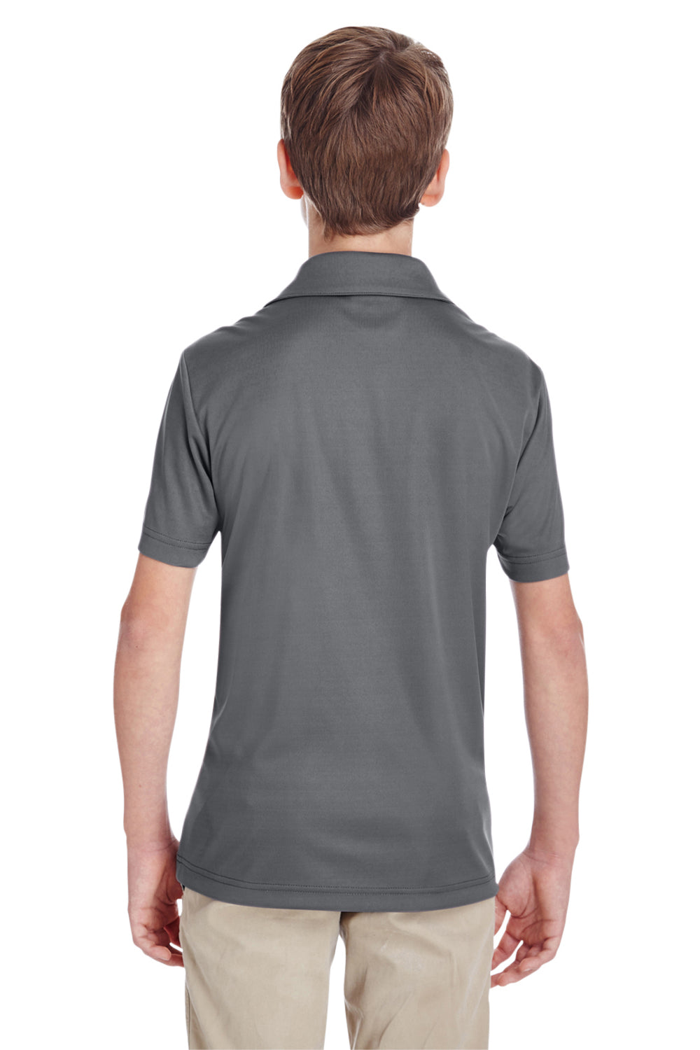 Team 365 TT51Y Youth Zone Performance Moisture Wicking Short Sleeve Polo Shirt Graphite Grey Back
